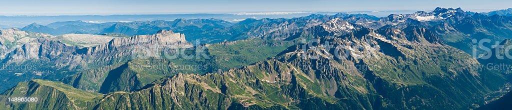 Alpine ridges summer panorama stock photo