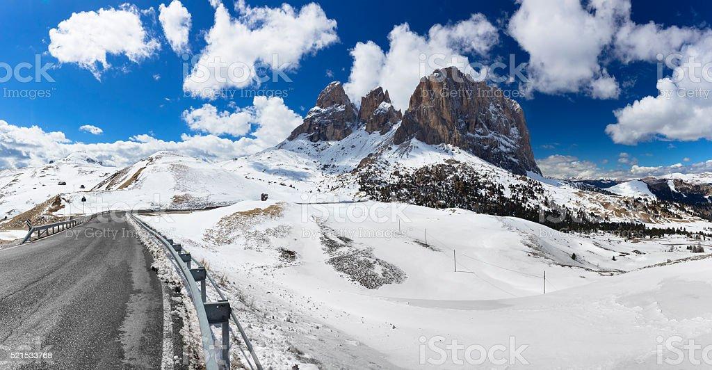 Alpine Road at Sella massif,  Dolomites, Italy stock photo