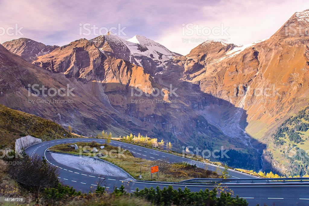 Alpine road in the Alps mountains. Hohe Tauern National park. stock photo