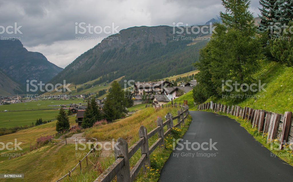 Alpine road to Livigno stock photo