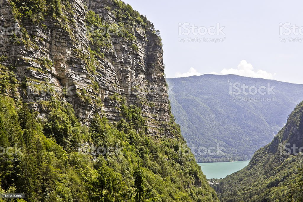Alpine Rocks and Vegetation, Dolomites in Summer royalty-free stock photo