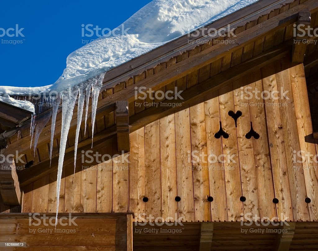 Alpine Roof Icicles royalty-free stock photo