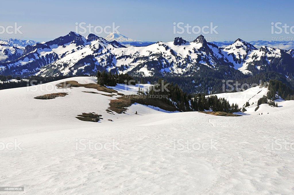 Alpine scene around Mount Rainier, North Cascades, Washington stock photo