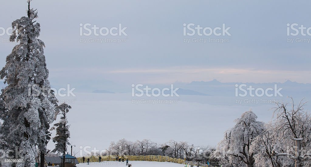 Alpine scenery in winter stock photo