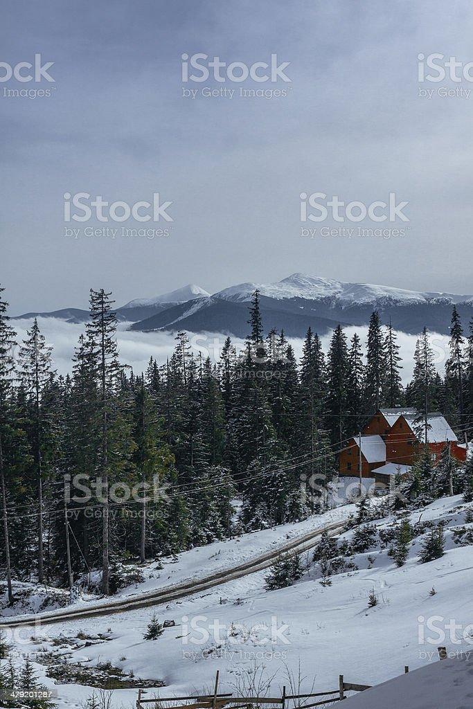 Alpine scenic  Ski resort home royalty-free stock photo