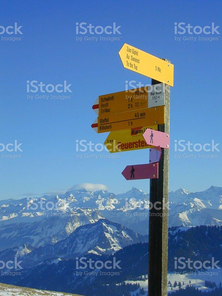 alpine signpost royalty-free stock photo