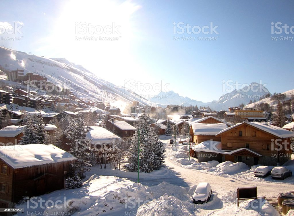 Alpine Ski Chalets stock photo