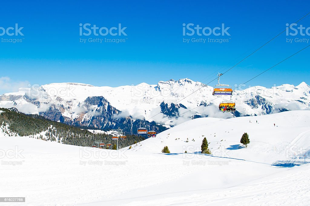 Alpine ski facility in mountain Swiss Alps stock photo