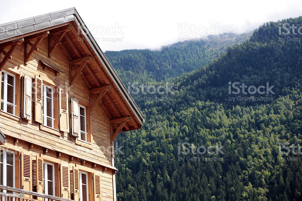 Alpine ski lodge in summer royalty-free stock photo