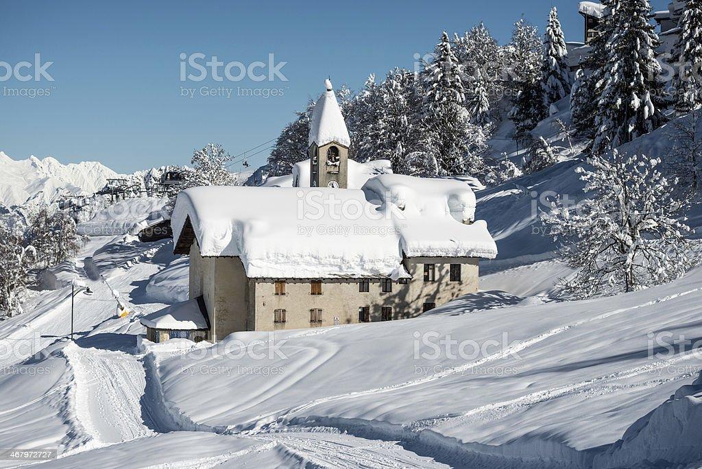 Alpine ski resort landscape in Italy royalty-free stock photo