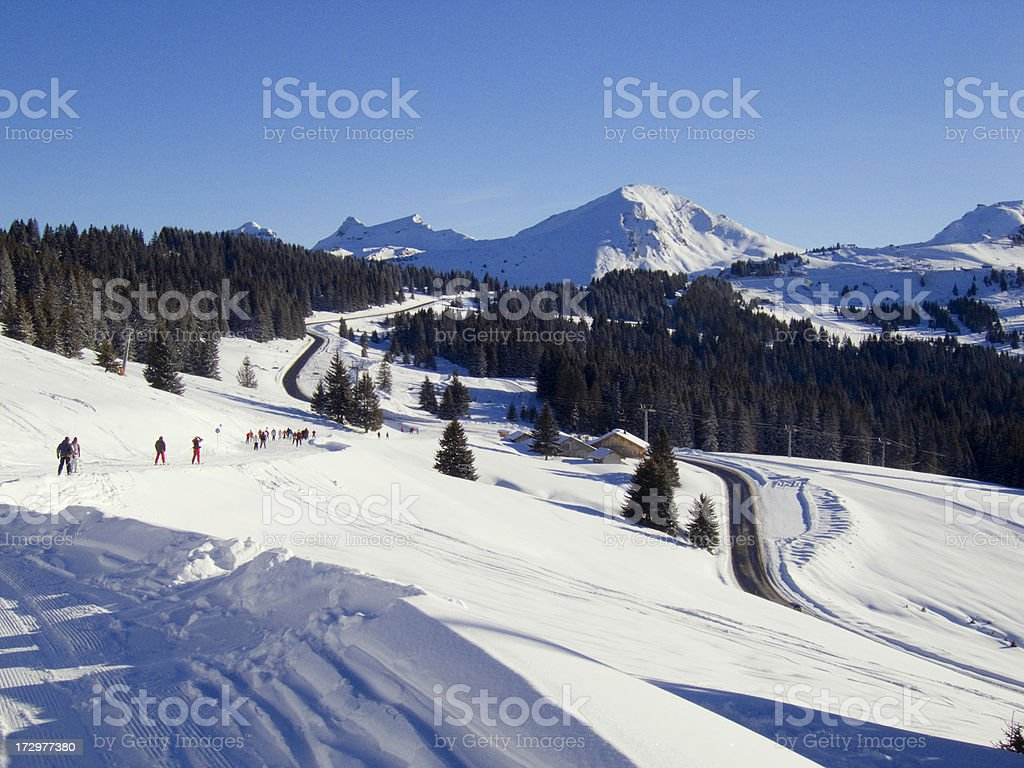 Alpine Ski run stock photo