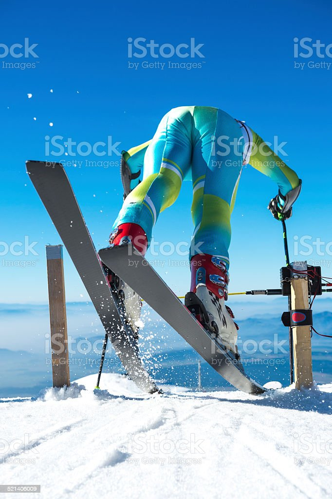 Alpine Skier Starting the Giant Slalom Race stock photo