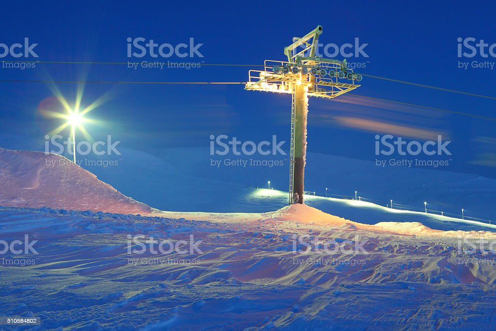Alpine skiing elevator.Resort.Rest in mountains in the winter. stock photo