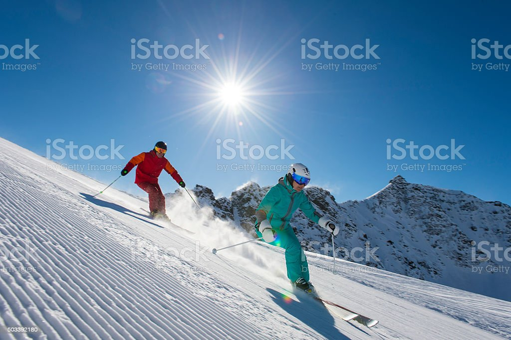 alpine skiing in the alp mountains stock photo