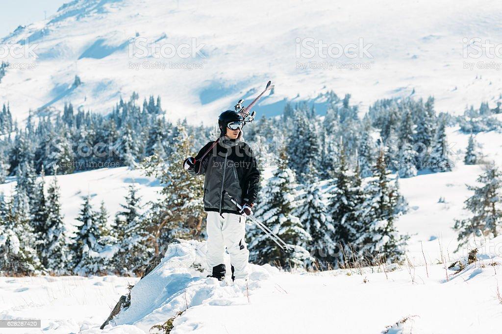 Alpine skiing stock photo