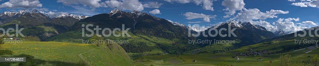 alpine spring panorama royalty-free stock photo