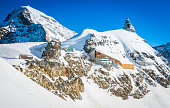 Alpine station and observatory high on mountain peaks Jungfraujoch Switzerland