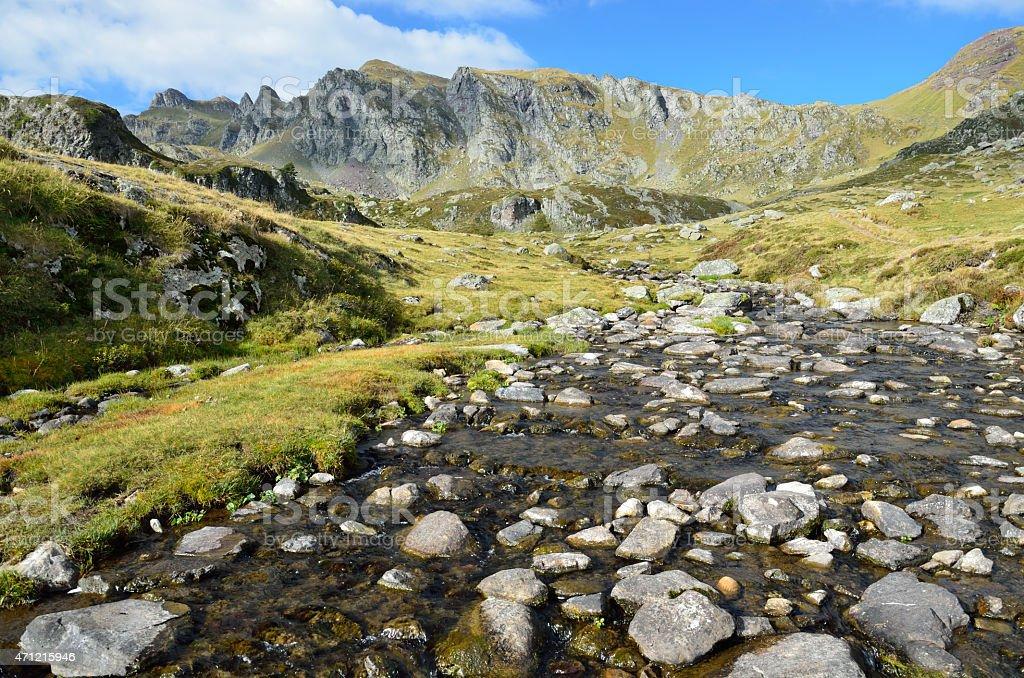 Alpine stream in the Atlantic Pyrenees, Bearn stock photo