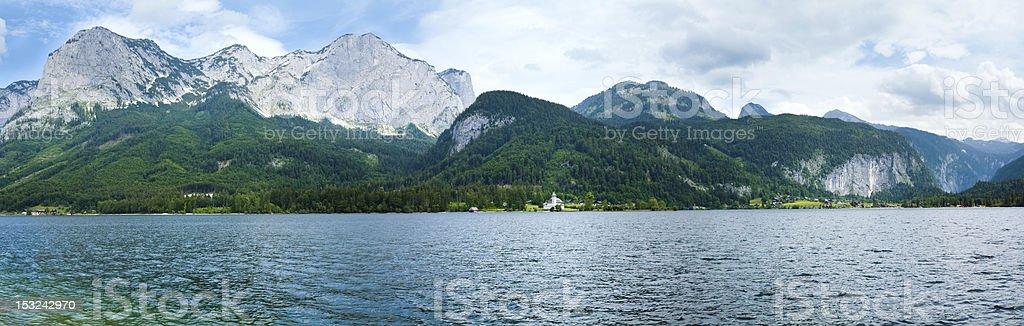 Alpine summer lake panorama stock photo