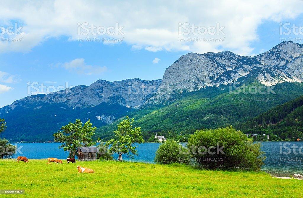 Alpine summer lake view stock photo