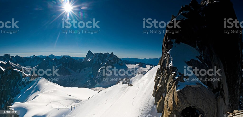 Alpine summit sunburst royalty-free stock photo