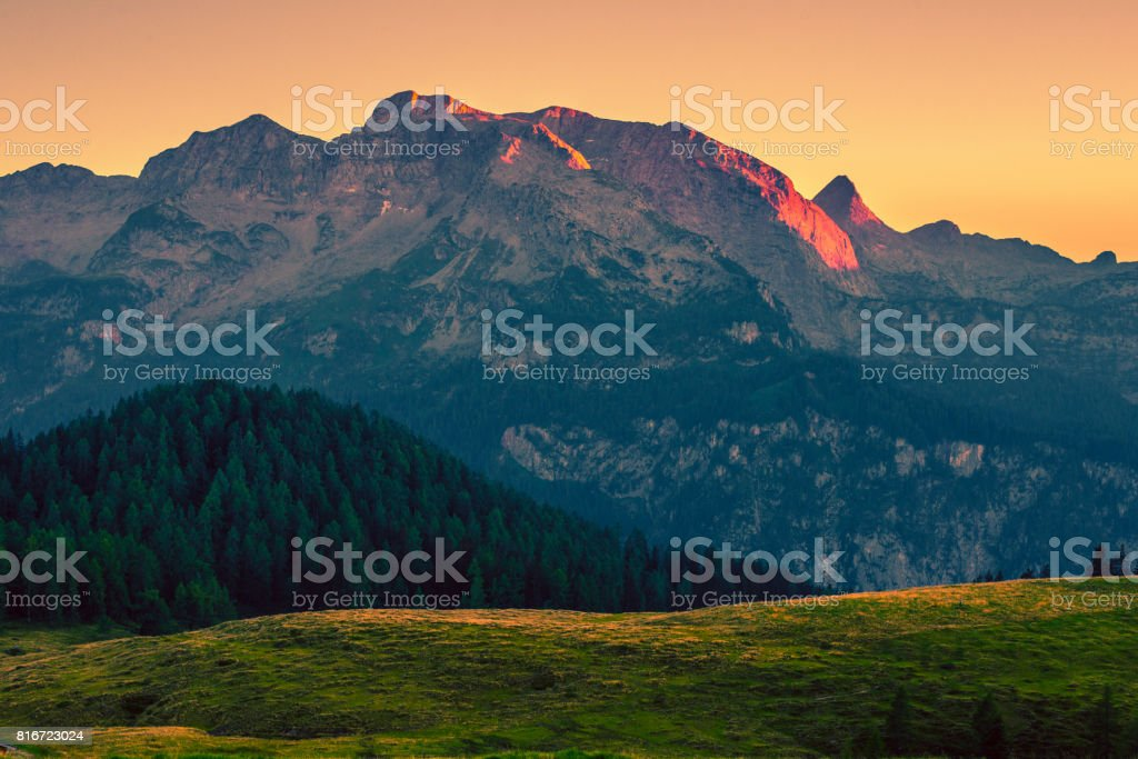 Alpine Sunset near Berchtesgaden stock photo