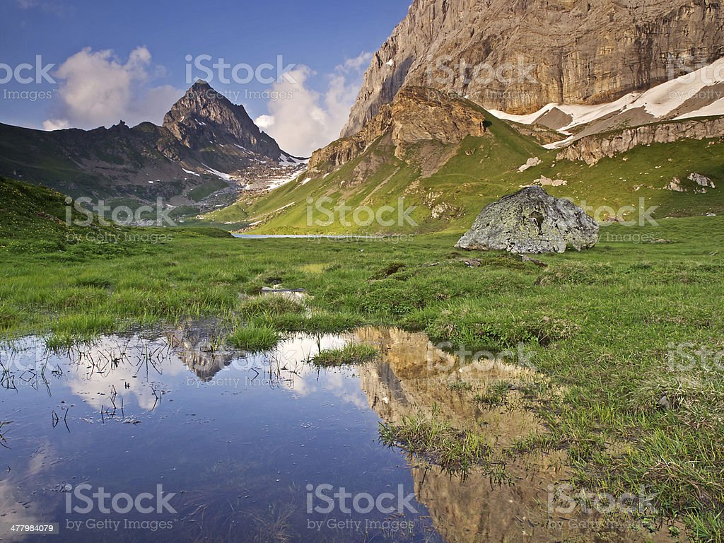 Alpine tableland in the evenig sunlight royalty-free stock photo