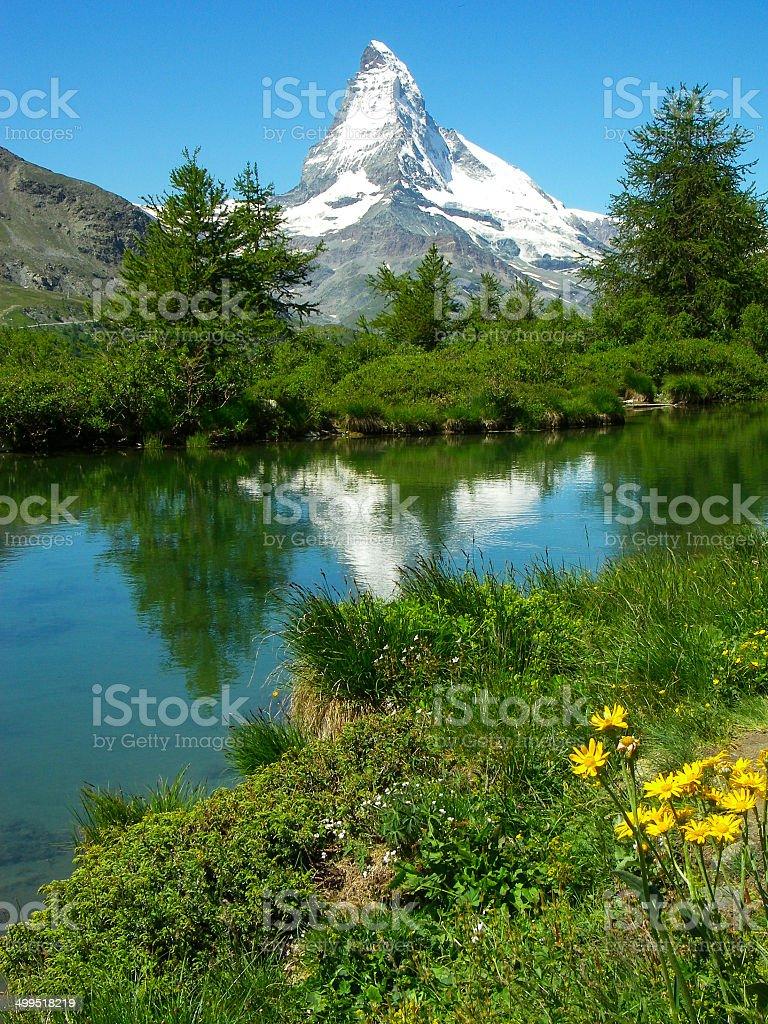 Alpine Tarn or Small Lake and Matterhorn above Zermatt Switzerland stock photo