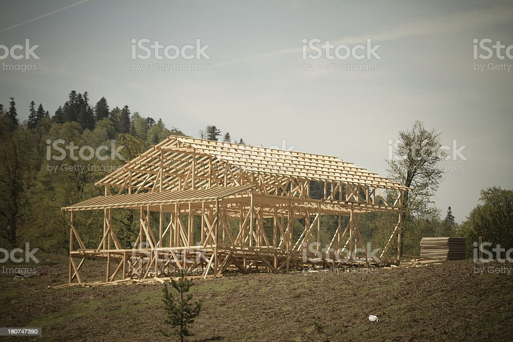 Alpine Timber House Frame royalty-free stock photo
