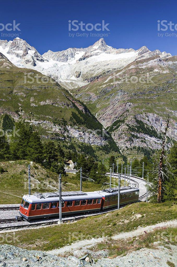 Alpine train in Switzerland, Zermatt stock photo