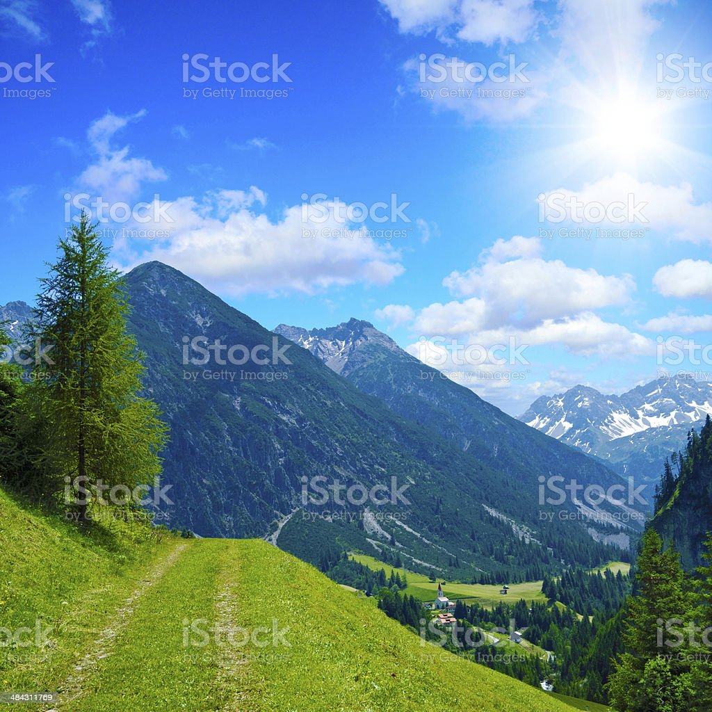 alpine trekking path royalty-free stock photo