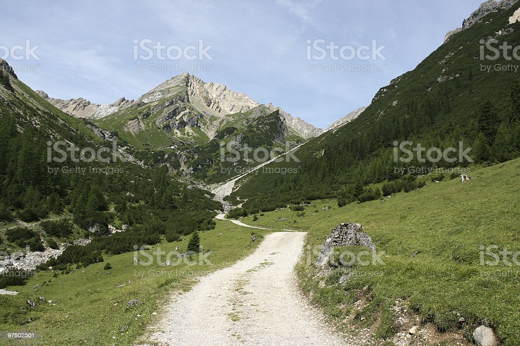Alpine valley stock photo