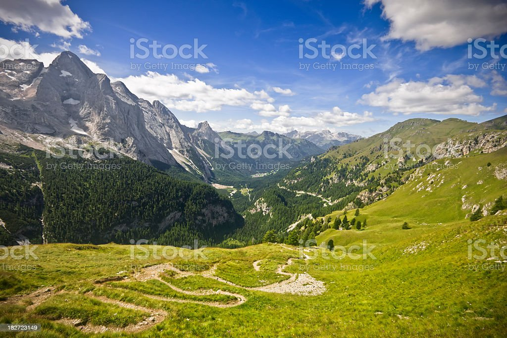 Alpine Valley with Path Downhill, Dolomites in Summer royalty-free stock photo