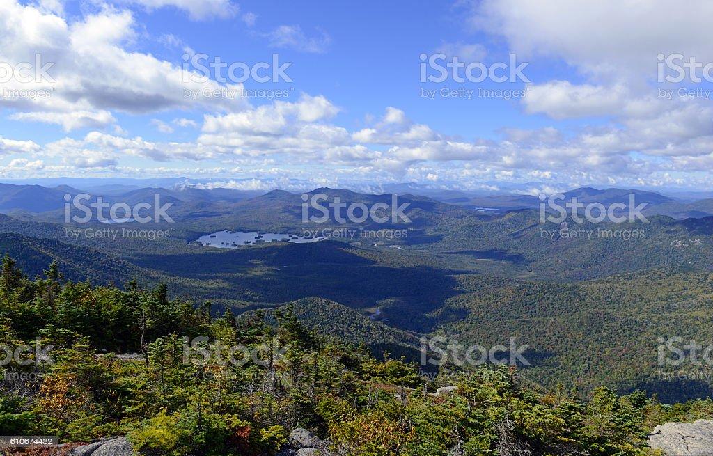 Alpine view from summit of a 46er, Adirondacks, New York stock photo