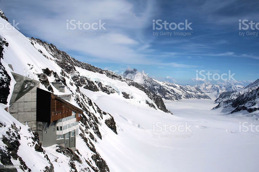 'Alpine view', Observatory, Viewpoint, Glacier Jungfraujock, Switzerland royalty-free stock photo