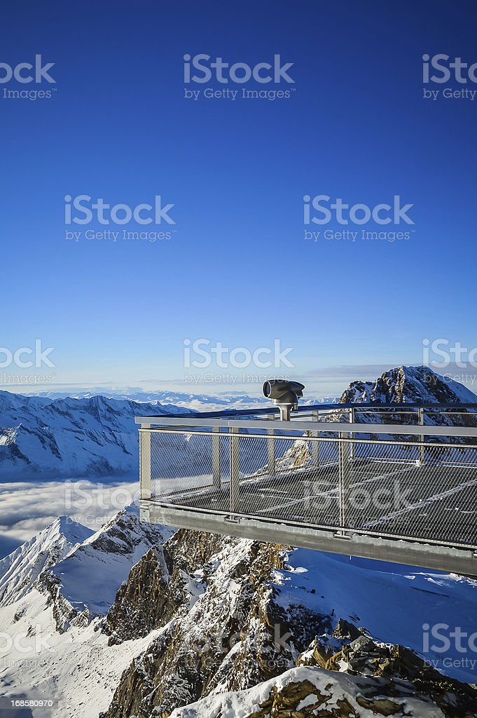 Alpine view over the abyss stock photo