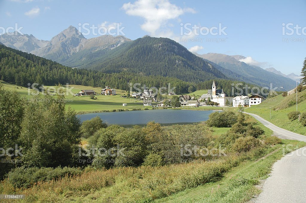Alpine Village and Lake royalty-free stock photo