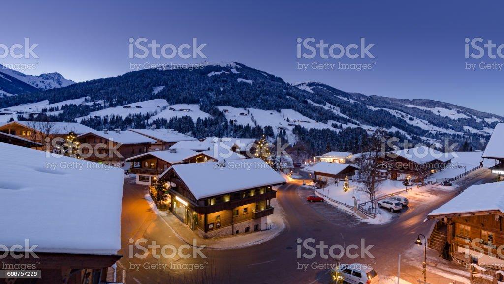 alpine village at night stock photo