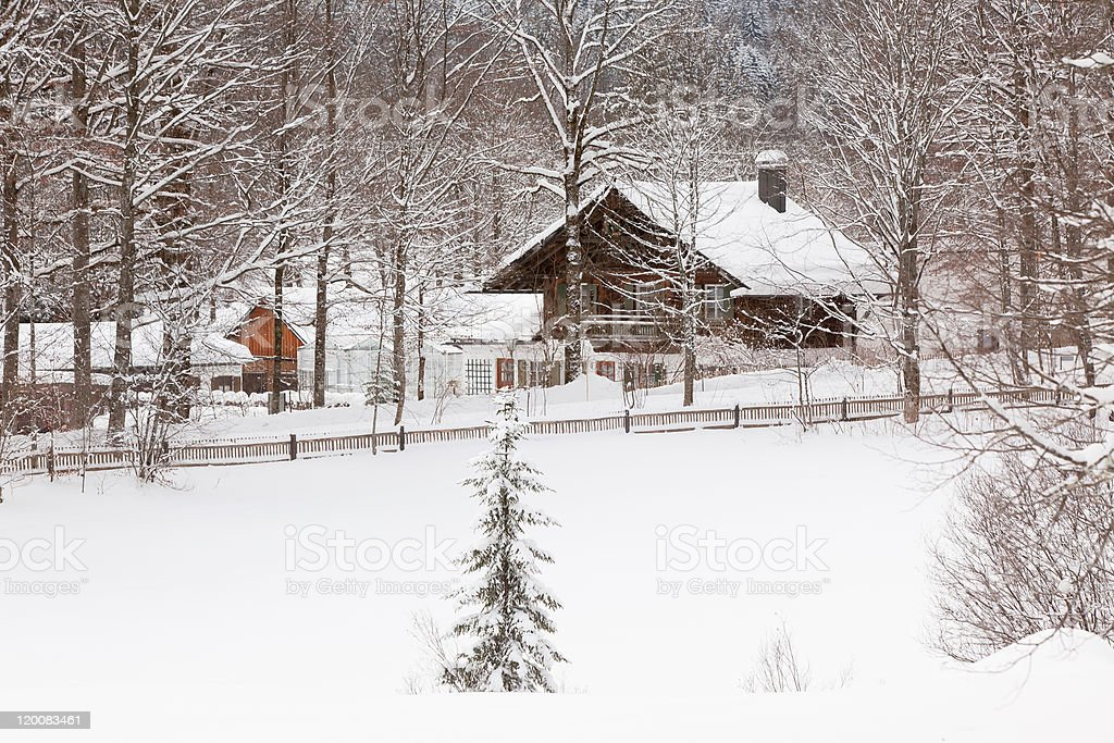 Alpine village at snow winter royalty-free stock photo