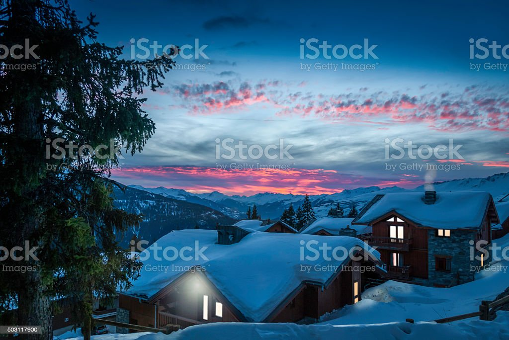 Alpine Village at Sunset stock photo