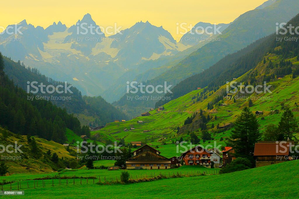 Alpine village, Bernese Oberland swiss alps landscape, Susten Pass, Switzerland stock photo