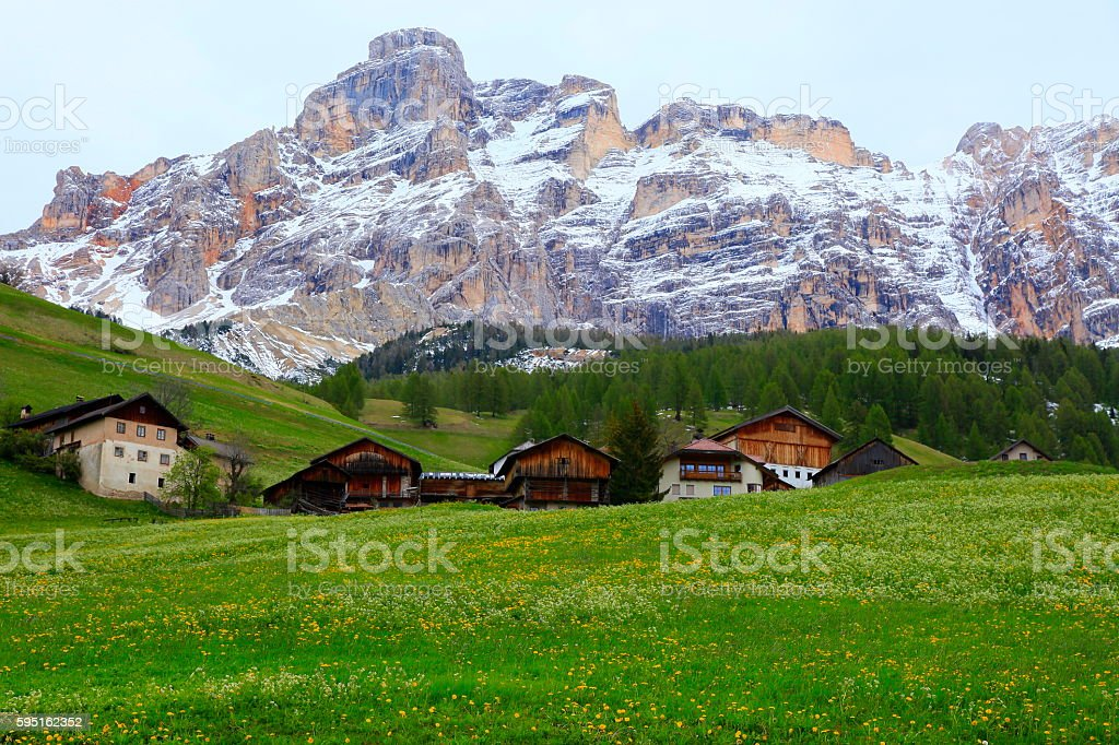 Alpine village: Dolomites Pinnacles, sudtirol landscape panorama stock photo