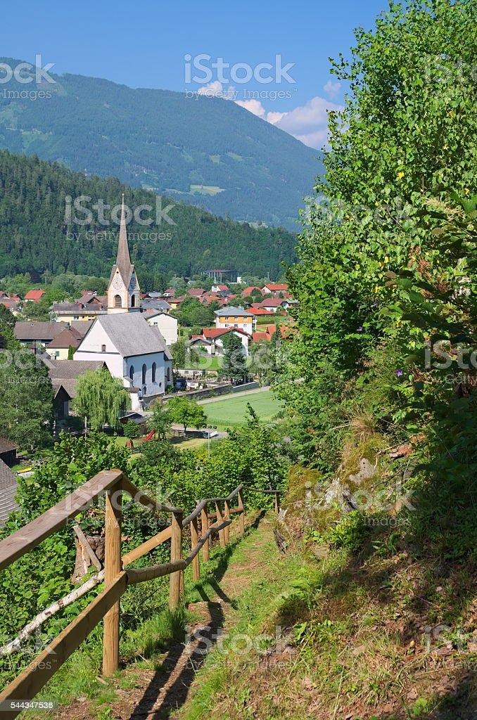Alpine village of Sachsenburg in the Drau river valley stock photo