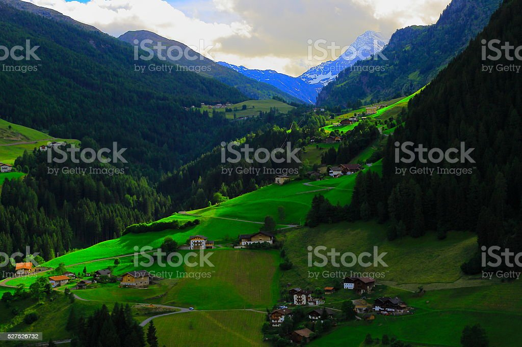 Alpine village sunset, near Timmelsjoch, Italian Austrian Tirol alps stock photo