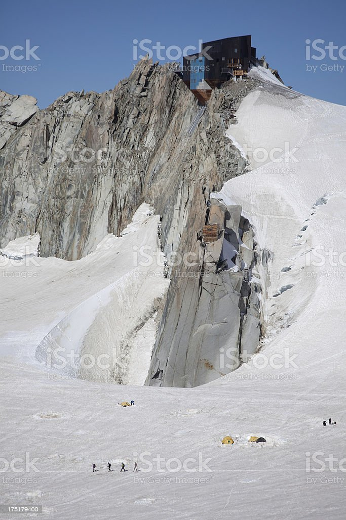 Alpine walkers near Mont Blanc royalty-free stock photo
