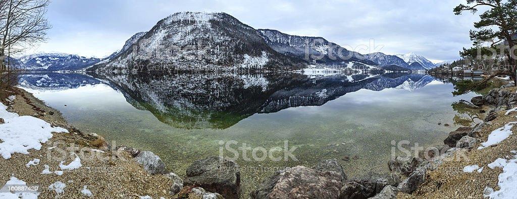 Alpine winter lake panorama. stock photo
