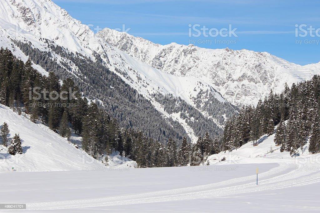 Alpine Winter Scenery in Lüsens, Sellraintal, Tyrol, Austria royalty-free stock photo