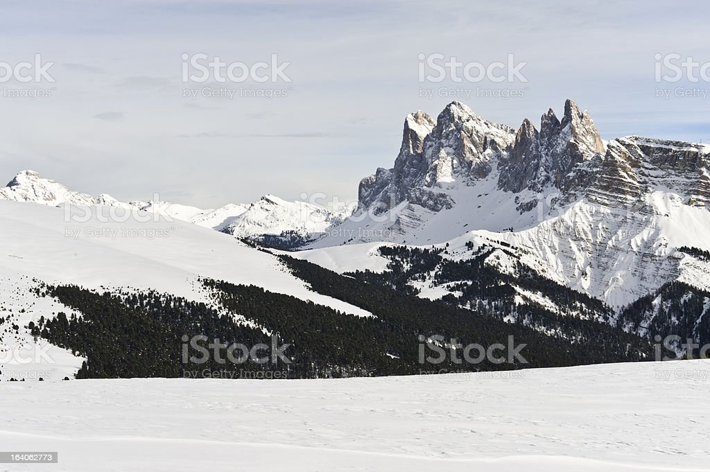 Alpine winter scenic view stock photo
