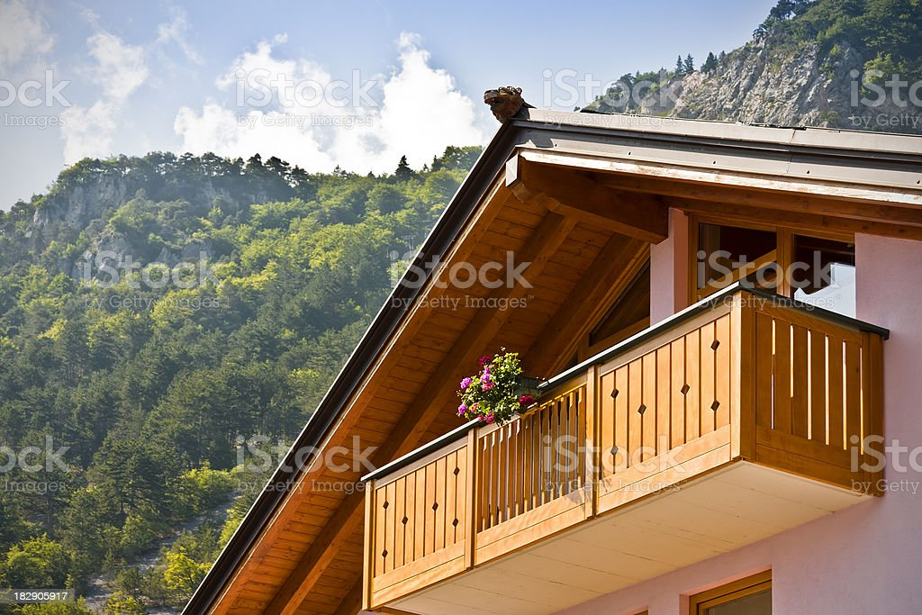 Alpine Wooden Balcony, Dolomites in Summer stock photo