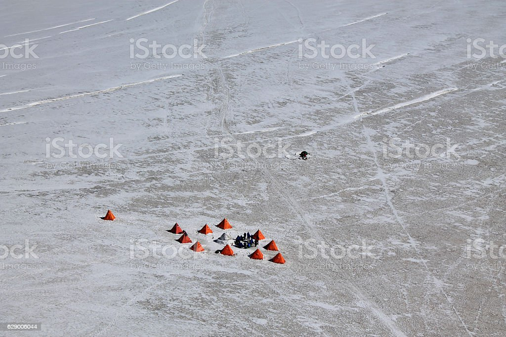 Alpinists tent camp stock photo
